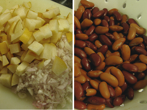 Pears Shallots and Beans