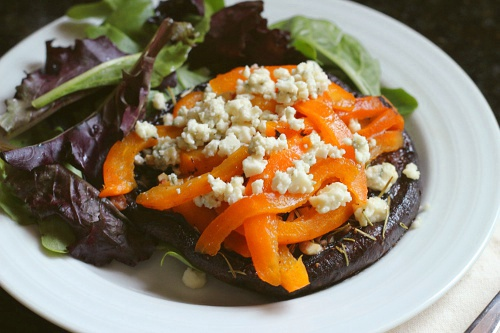 Roasted Portobellos with Roasted Peppers and Blue Cheese {Gluten-Free, Vegetarian} | Wheat-Free Meat-Free