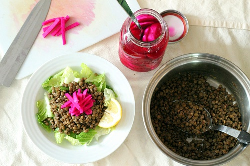 Lentil Salad with Pickled Turnips {Gluten-Free, Vegetarian} | Wheat-Free Meat-Free