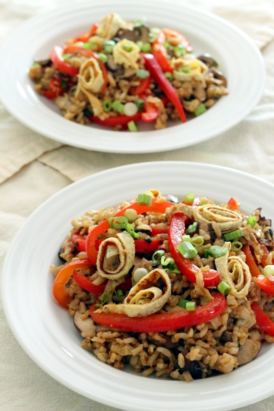 Bell Pepper Mushroom Fried Rice {Gluten-Free, Vegetarian} | Wheat-Free Meat-Free