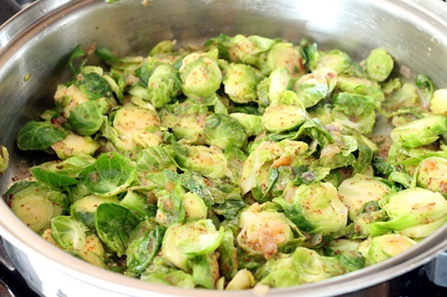 Braised Brussels Sprouts in Mustard Sauce — Wheat-Free Meat-Free