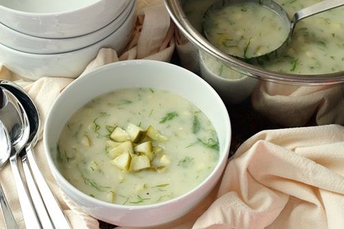 Dill Pickle Soup {Gluten-Free, Vegetarian} | Wheat-Free Meat-Free