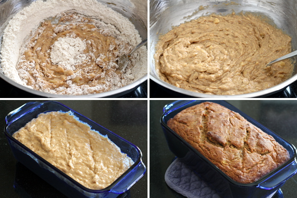 Banana Bread Before and After Baking