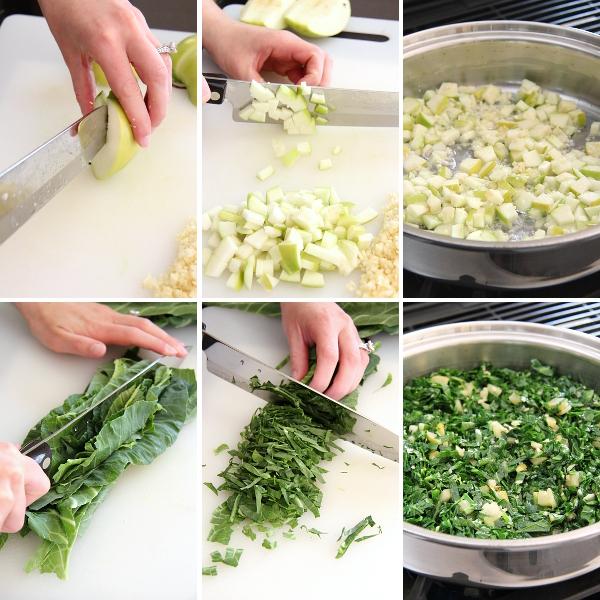 Making Apple-Garlic Collard Greens | Wheat-Free Meat-Free