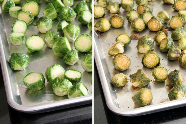 Brussels Sprouts Before and After Roasting | Wheat-Free Meat-Free