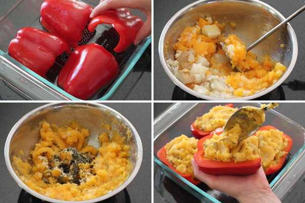 Making Mashed Butternut and Potato Stuffed Peppers | Wheat-Free Meat-Free