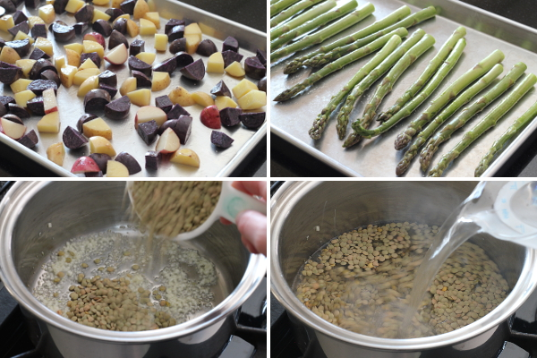 Making Roasted Asparagus and Potatoes over Tarragon Lentils Part 1