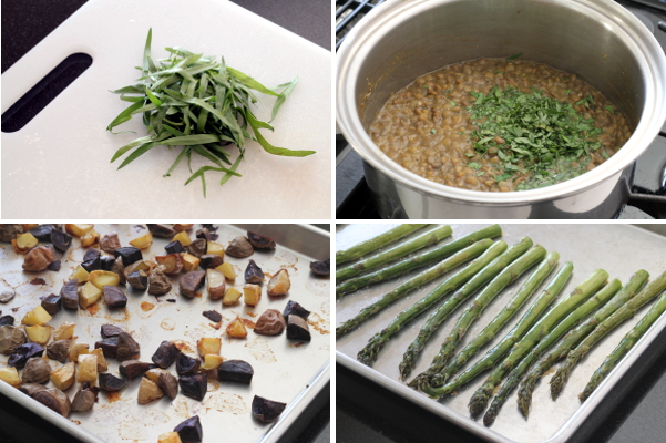 Making Roasted Asparagus and Potatoes over Tarragon Lentils Part 2