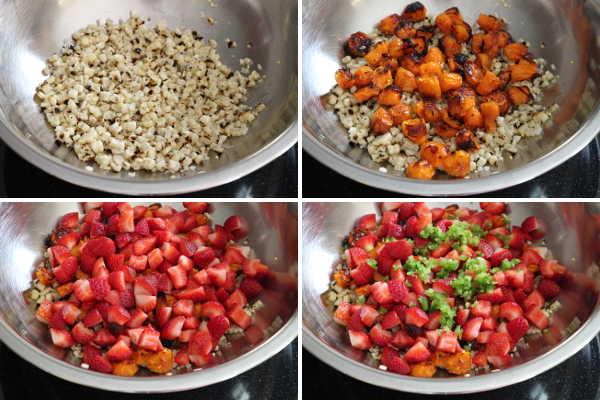 Making Corn, Tomato and Strawberry Salsa