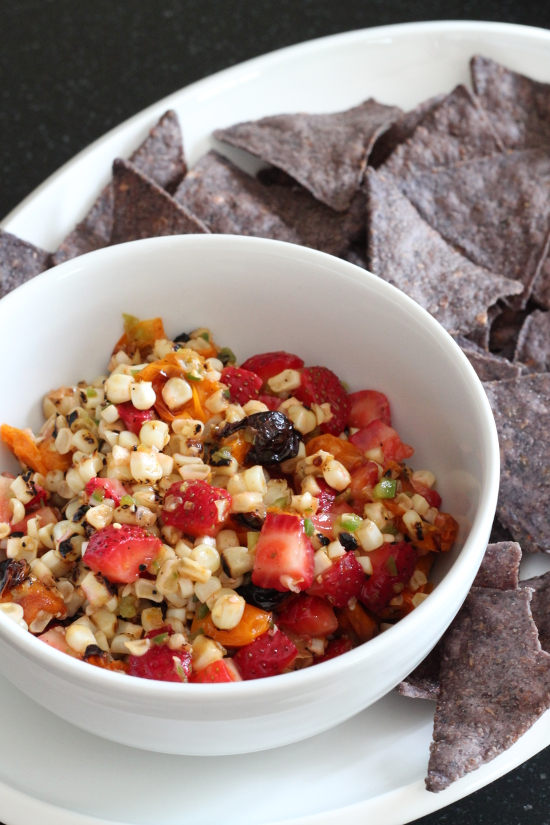 Charred Corn Roasted Tomato and Strawberry Salsa {Gluten-Free, Vegan} | Wheat-Free Meat-Free