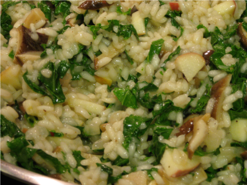 Kale Apple Shiitake Risotto | Wheat-Free Meat-Free