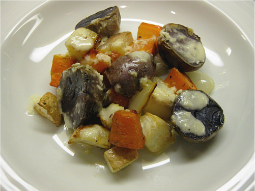 Roasted Root Vegetables with Horseradish Sauce | Wheat-Free Meat-Free
