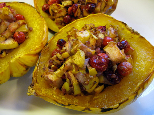 Apple Cranberry Stuffed Squash {Gluten-Free, Vegetarian} | Wheat-Free Meat-Free