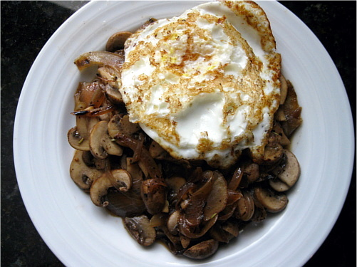 Fried Eggs with Mushrooms and Onions — Wheat-Free Meat-Free