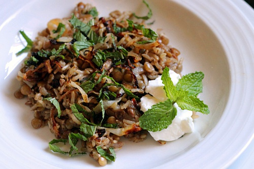 Mujadara {Gluten-Free, Vegetarian} | Wheat-Free Meat-Free