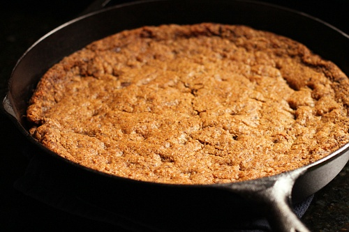 Hazelnut Chocolate Chip Skillet Cookie {Gluten-Free} | Wheat-Free Meat-Free
