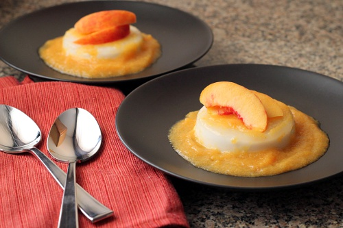 Coconut Panna Cotta with Peach Coulis {Gluten-Free, Vegetarian} | Wheat-Free Meat-Free