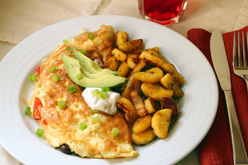 Southwestern Omelette with Fried Plantains {Gluten-Free, Vegetarian} | Wheat-Free Meat-Free