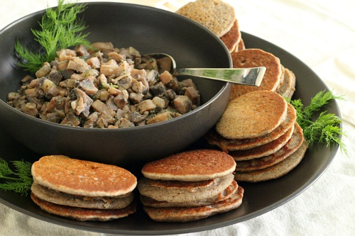 Mushroom Caviar with Buckwheat Blini {Gluten-Free, Vegetarian} | Wheat-Free Meat-Free