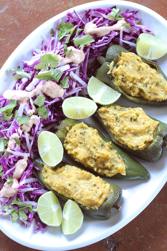 Plantain Stuffed Poblano Peppers