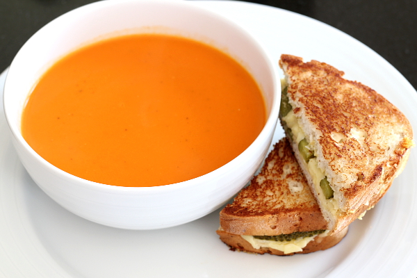 Tomato Soup and Grilled Cheese with Pickles and Mustard | Wheat-Free Meat-Free