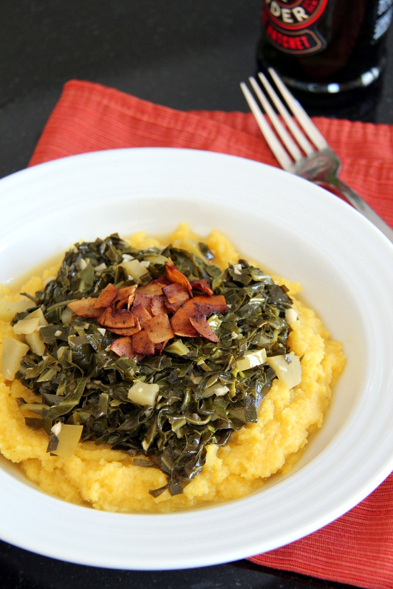 Apple-Garlic Collard Greens over Polenta | Wheat-Free Meat-Free