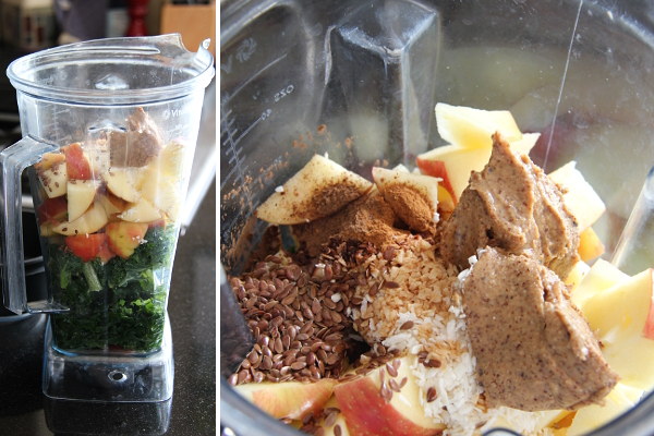 Apple Pie Green Smoothie Before Blending | Wheat-Free Meat-Free