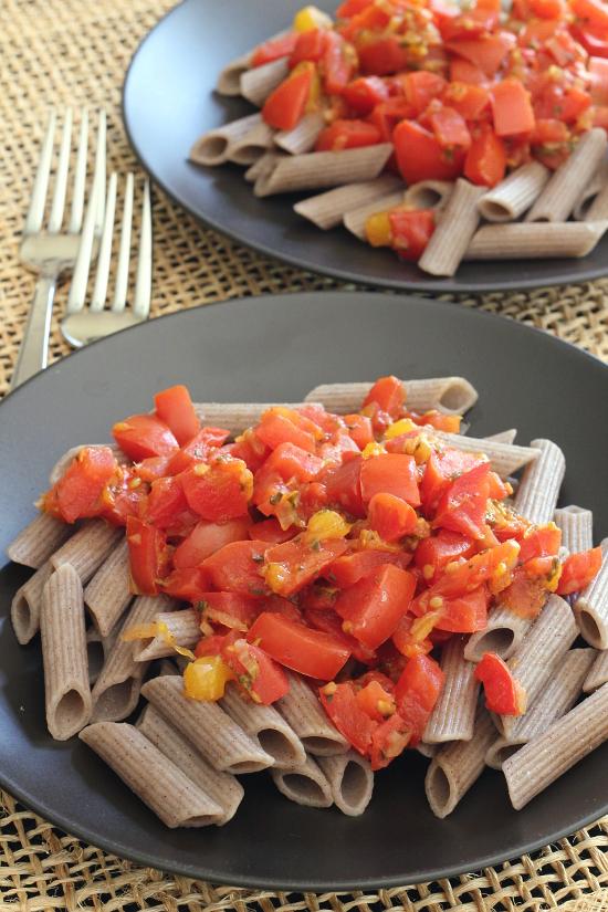 Tomato Mango Pasta {Gluten-Free, Vegan} | Wheat-Free Meat-Free