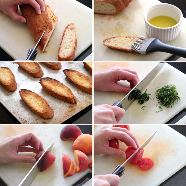 Preparing Peach Tomato Crostini | Wheat-Free Meat-Free