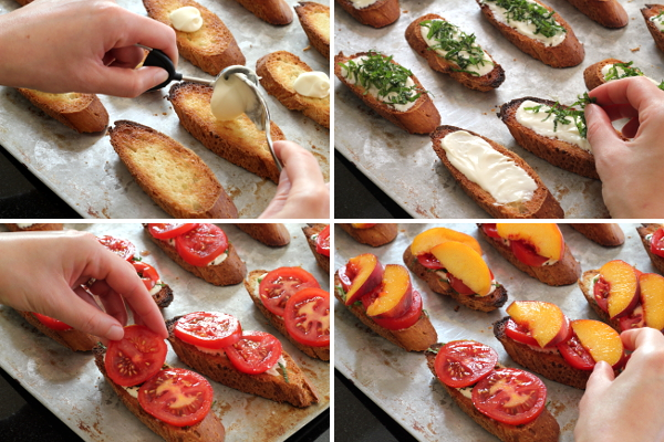 Assembling Peach Tomato Crostini | Wheat-Free Meat-Free