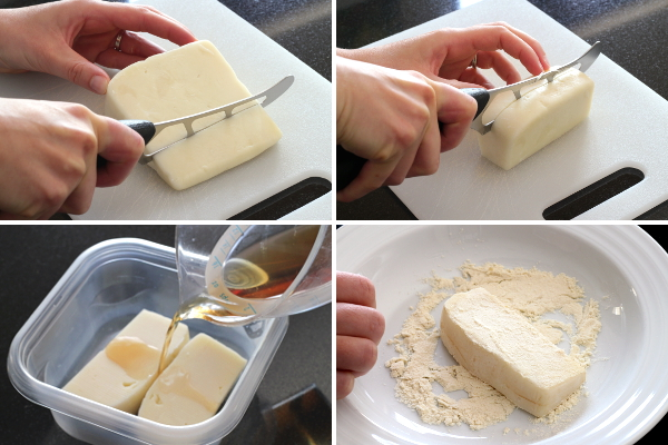 Preparing Cheese for Saganaki | Wheat-Free Meat-Free