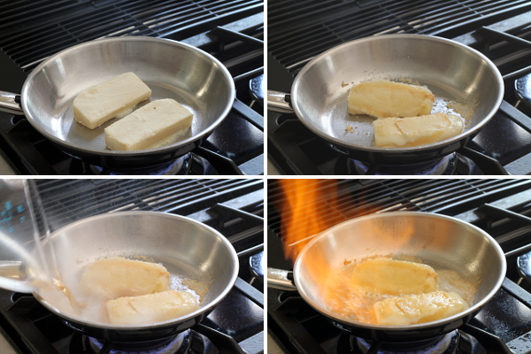 Preparing Saganaki | Wheat-Free Meat-Free