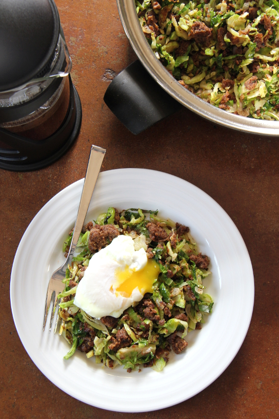 Brussels Sprout Hash {Gluten-Free, Vegetarian} | Wheat-Free Meat-Free