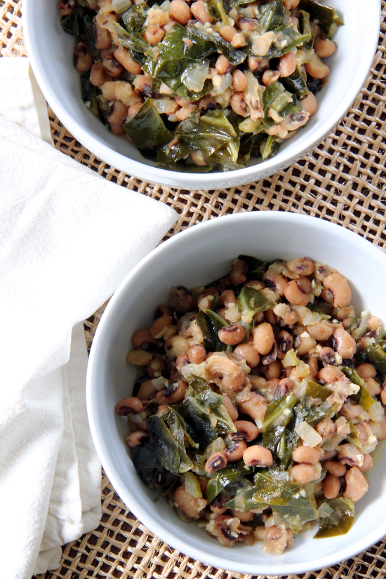 Black Eyed Peas and Greens {Gluten-Free, Vegan} | Wheat-Free Meat-Free