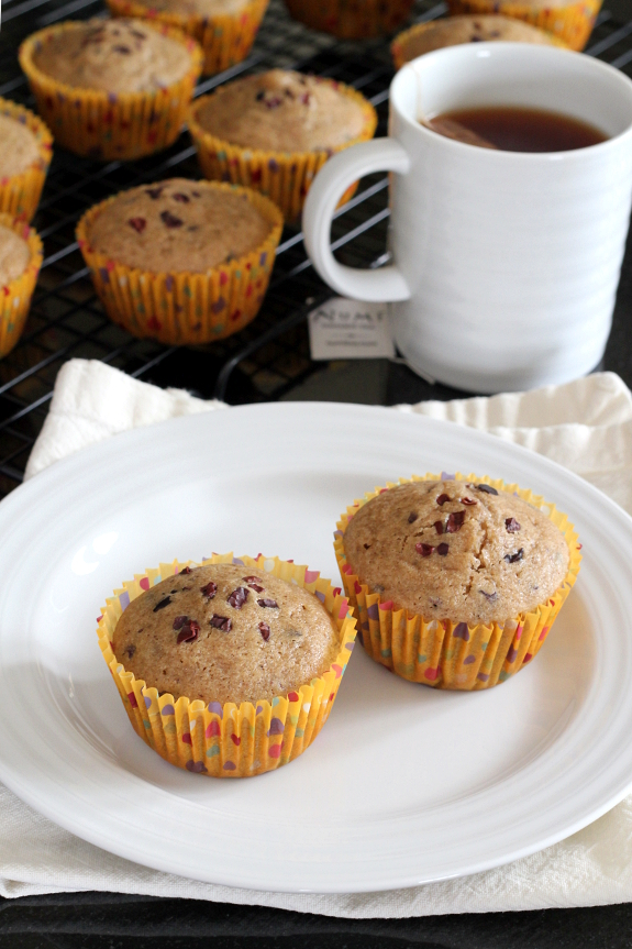 Chai-Spiced Muffins with Cacao Nibs {Gluten-Free, Dairy-Free, Nut-Free} | Wheat-Free Meat-Free