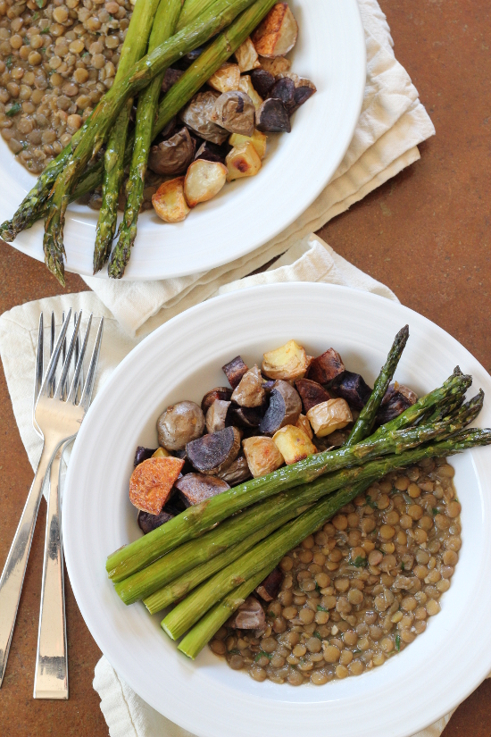 Roasted Asparagus and Potatoes over Tarragon Lentils {Gluten-Free, Vegetarian, Vegan} | Wheat-Free Meat-Free