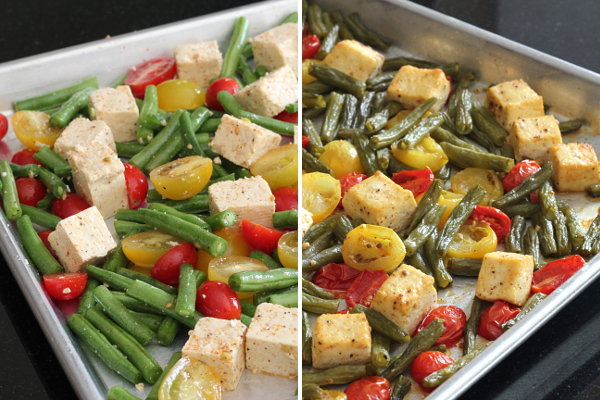 Before and After Roasted Green Beans, Tomatoes, and Tofu | Wheat-Free Meat-Free