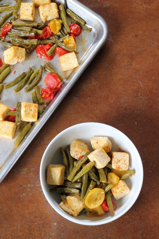 Spicy Roasted Green Beans and Cherry Tomatoes with Tofu {Gluten-Free, Vegan} | Wheat-Free Meat-Free